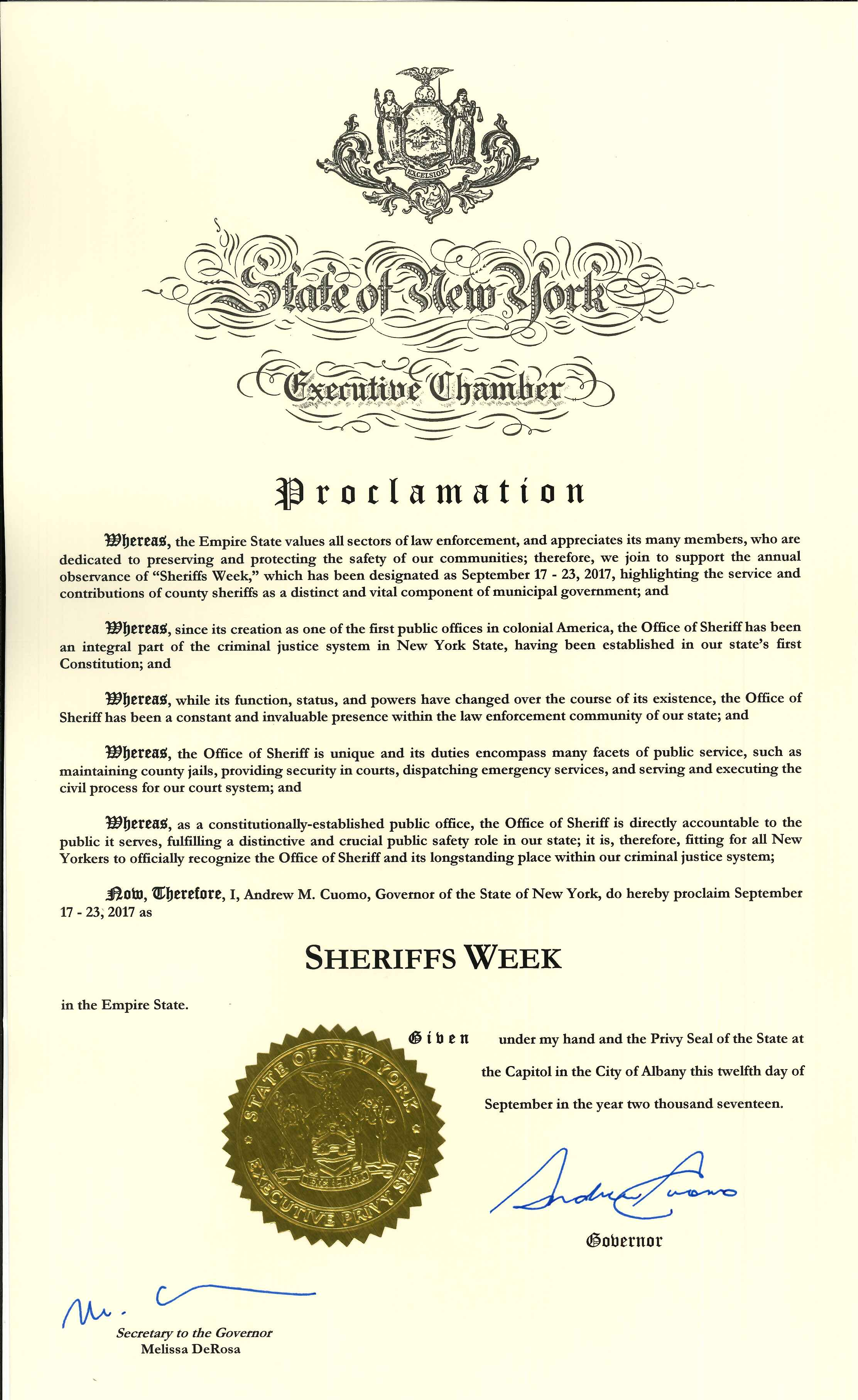 Ny sheriffs association blog archive sheriffs week 2017 governor cuomo joins new yorks sheriffs in declaring the week of september 17 2017 to be sheriffs week in new york state nysheriffs sheriffsweek2017 xflitez Images
